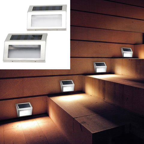 Solar Power 3 LED Outdoor Water Proof Garden Pathway Stairs Lamp Light Energy Saving LED