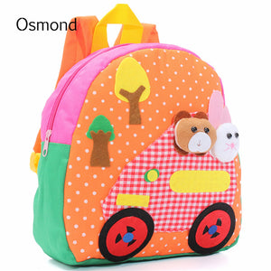 Cute Animal Cartoon Canvas School Bags for Kid Small Little Baby Kindergarten Bags