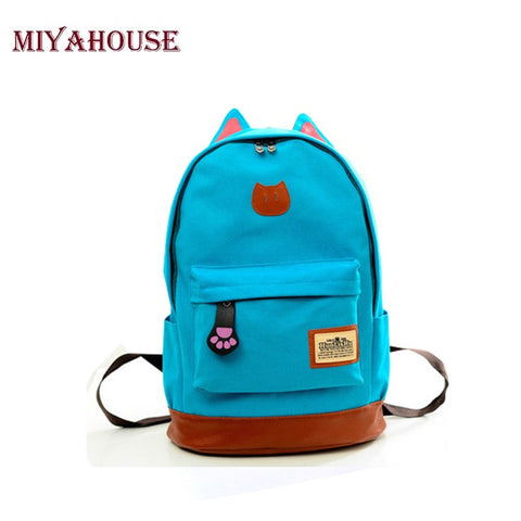 Canvas Backpack Women Casual School For Teenage Girls Cartoon Women Bag Cute Cat Ear Children Backpack