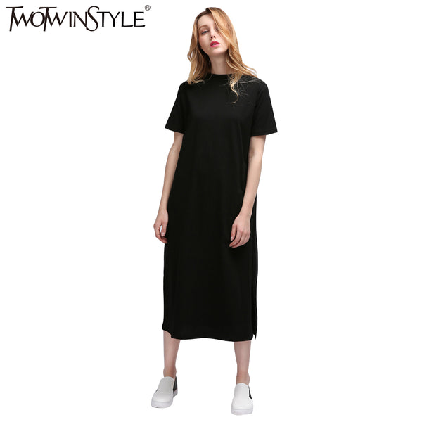 Perfect [TWOTWINSTYLE] Autumn Basic Side High Slit Long T shirt Women Sex Dress Short Sleeves Black New Fashion Clothing - Best online sale store in USA