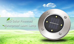 New Solar Powered Underground LED lighting Lamp 4 LED Round Ground Waterproof Garden