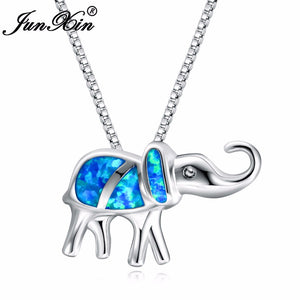 New Lucky Elephant Blue Opal Necklace 925 Sterling Silver