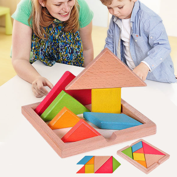 Best Children Mental Development Tangram Wooden Jigsaw Puzzle Educational Toys for Kids - Best online sale store in USA