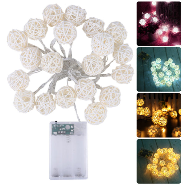 Rattan LED Ball String Lighting Christmas Light String For Wedding Party Decoration White/ Warm White