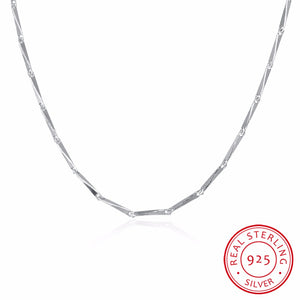 New Original 925 Sterling Silver Jewelry Bamboo Link Chains Necklaces Silver