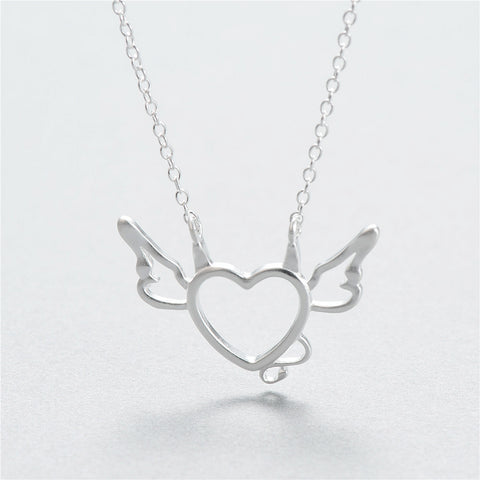 Women Sterling silver necklace Clavicle chain pendant charms Little devil