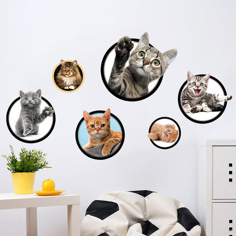 New 3D Cats Wall Sticker DIY Refrigerator Child Kids Bedroom Living Room Home Decor Art