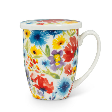 Wildflower Tea Mug with infuser & lid