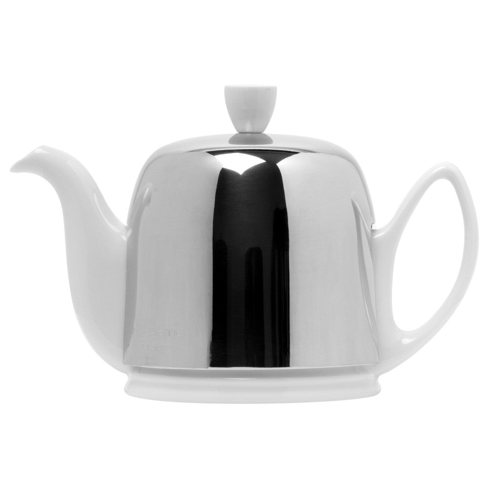 Guy Degrenne Salam - White Base with Polished stainless steel cover 4 Cup Teapot ON BACKORDER