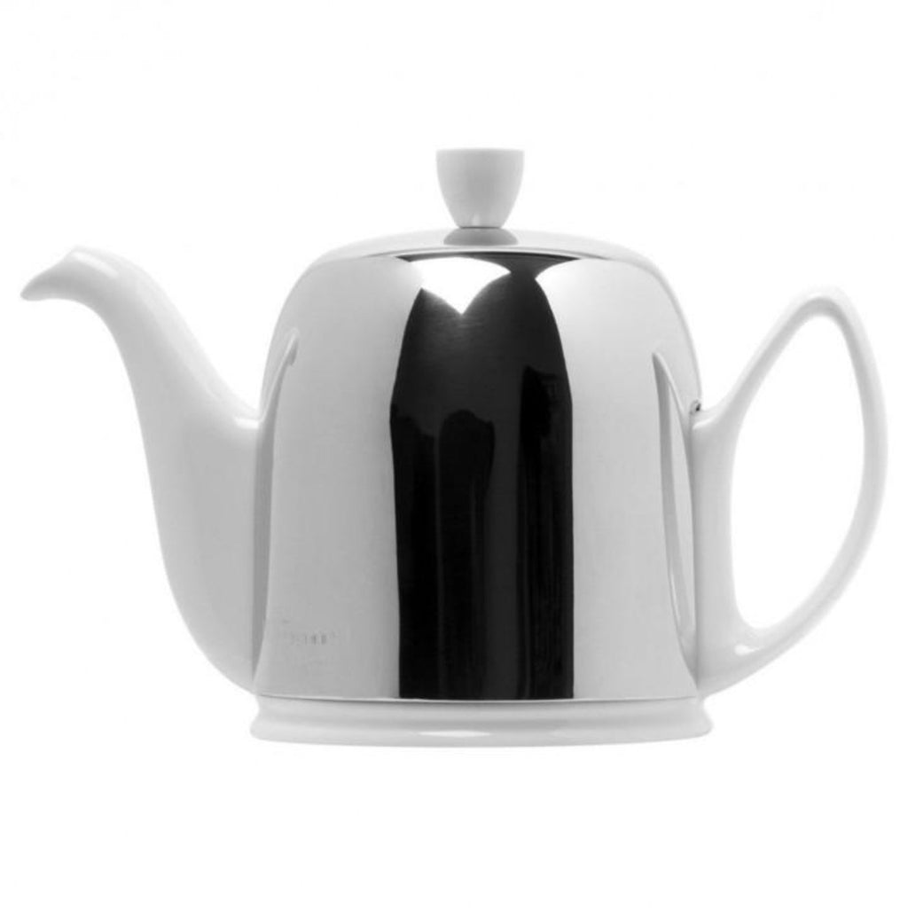 Guy Degrenne Salam  - White Base with Polished stainless steel cover  8 Cup Teapot