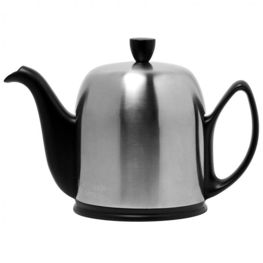 Guy Degrenne Salam  -Matte black Base with matte stainless steel cover  6 Cup Teapot