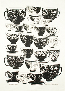Linen Tea Towel - Black Teacups