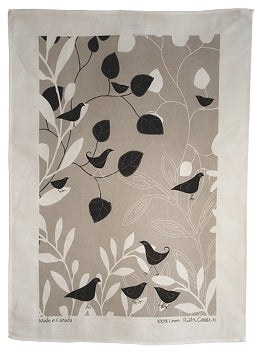 Linen Tea Towel - Botanic Bird Black on Taupe