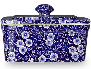 Burleigh Blue Calico Covered Butter Dish