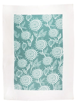 Linen Tea Towel - White Dahlia on Turquoise