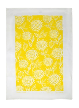 Linen Tea Towel - White Dahlia on Yellow