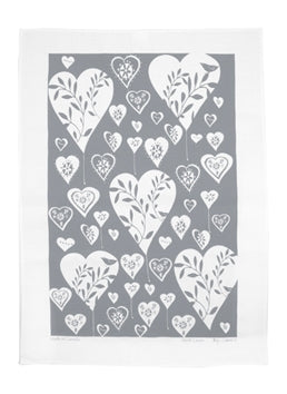 Linen Tea Towel - Grey Hearts
