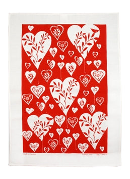 Linen Tea Towel - White Hearts on Red