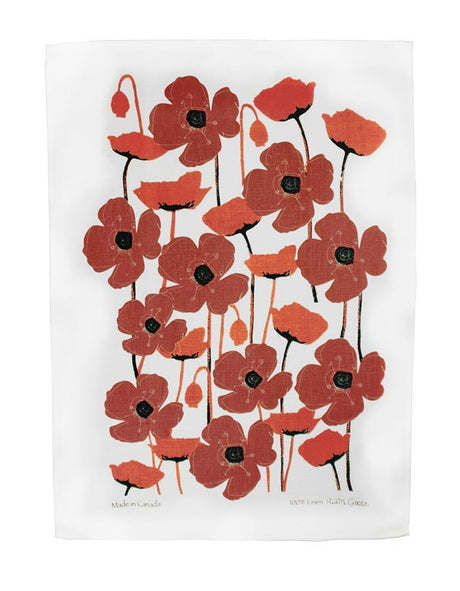 Linen Tea Towel - Poppies Red on White
