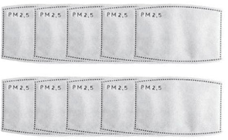 RainCaper 10-pack PM2.5 Filters For Reusable Face Masks