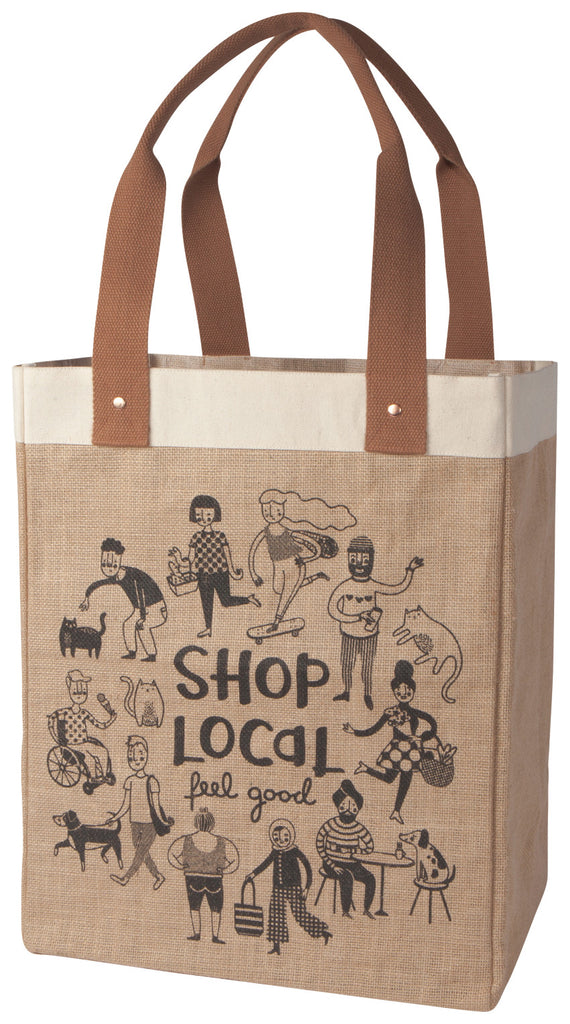 SHOP LOCAL Jute Tote Bag