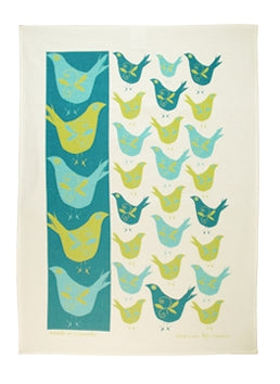 Linen Tea Towel - Swedish Birds