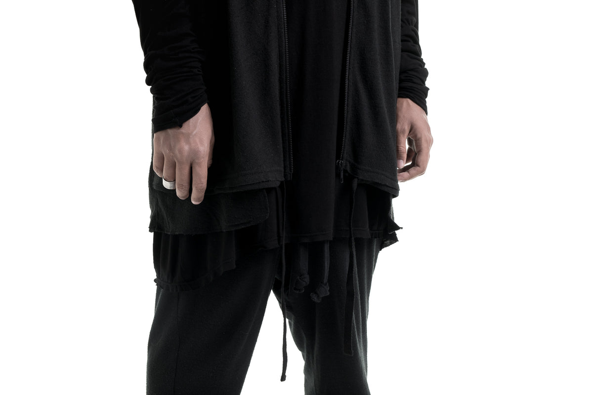 Nordic design, scandinavian design, danish design, vest, hoodie, sleeveless hoodie, raw silk, raw silk pants, silk, luxury silk pants, fine black silk, oversize silk pants, oversize