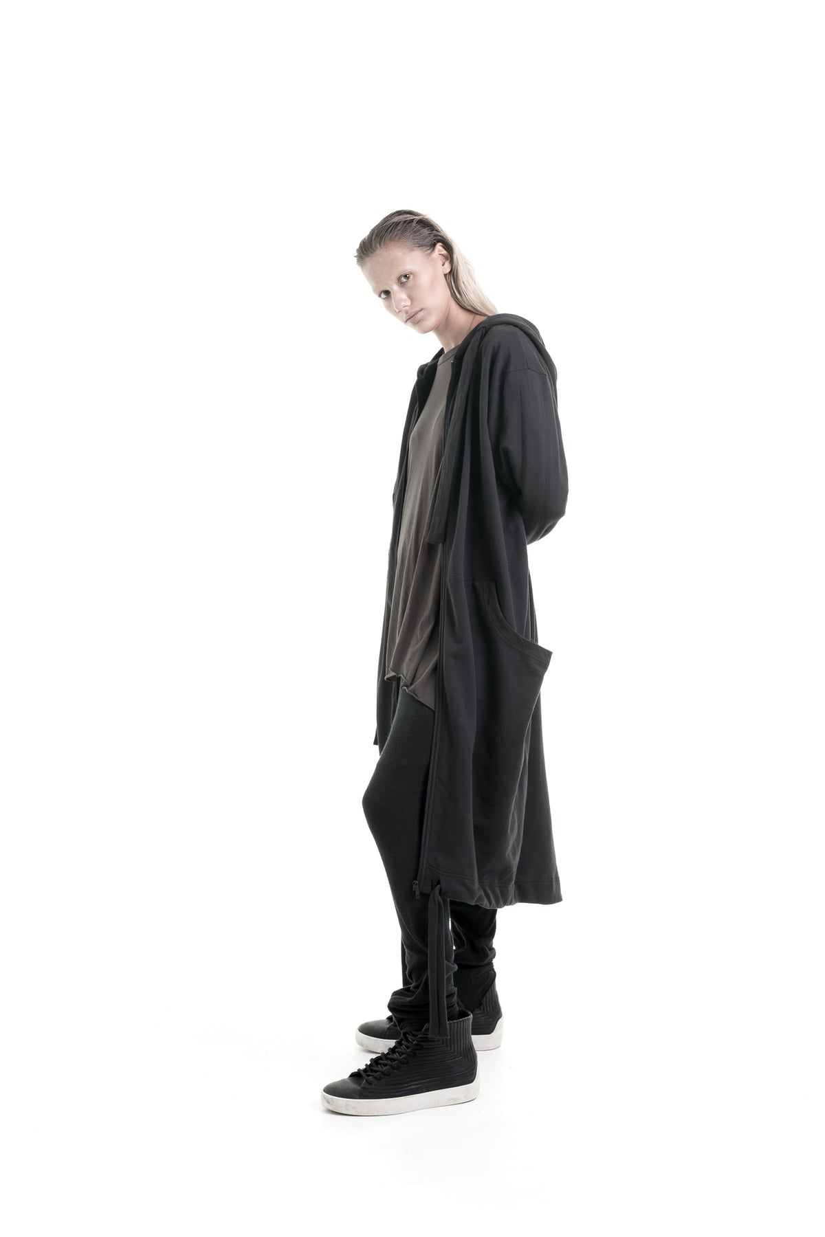 Nordic design, scandinavian design, danish design, black cotton, cotton jacket, long jacket, jerdey jacket, luxury cotton jacket, cotton, fine black cotton, oversize cotton jacket, oversize