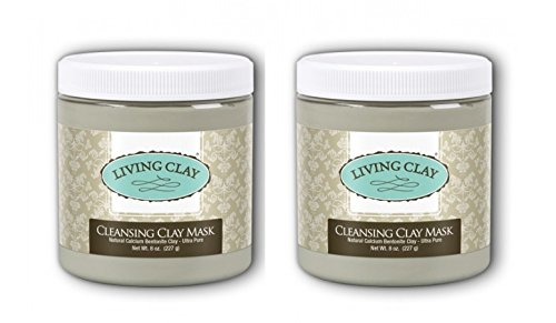 Living Clay Cleansing Clay Mask (Pack of 2) with Natural Calcium Bentonite, for drawing out Impurities and Excess Oils, Removing Make-up and more, 8 oz