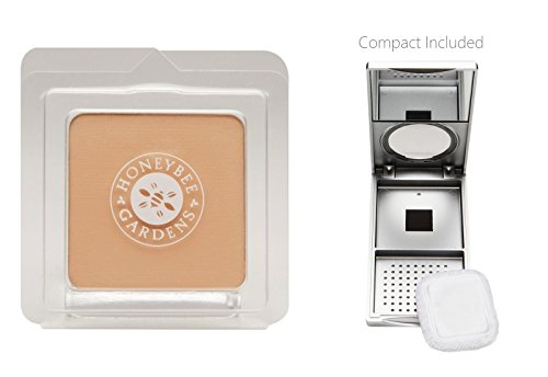 Honeybee Gardens Supernatural Pressed Mineral Powder Foundation (0.26 oz) with Silver Mirrored Compact and Flocked Cotton Puff, Vegan and Eco-Friendly