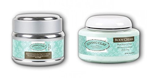 Living Clay Fragrance Free Body Cream and Rejuvenation Face Cream with Natural Calcium Bentonite, Green Tea Extract, Aloe, Shea Butter, Grapeseed Oil, Tea Tree Oil and Vitamin E, 8 oz and 2 oz