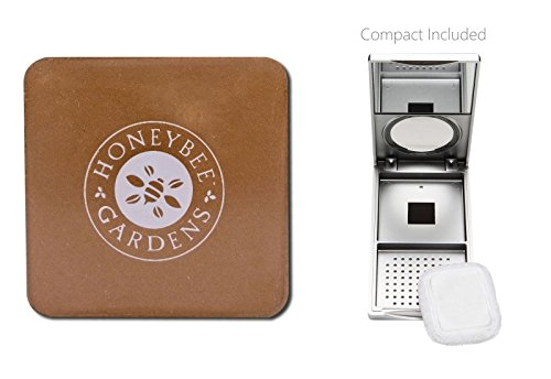 Honeybee Gardens Sundance Pressed Mineral Powder Foundation (0.26 oz) with Silver Mirrored Compact and Flocked Cotton Puff, Vegan and Eco-Friendly