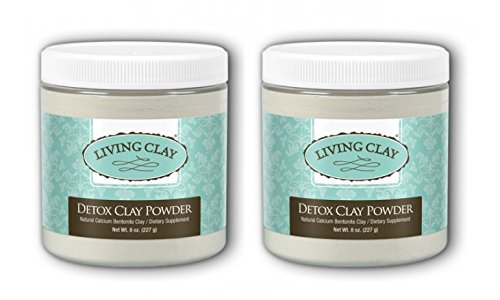 Living Clay Detox Clay Powder (Pack of 2) with Natural Calcium Bentonite, for Detoxing and Deep Cleansing via Baths, Facials and Full Body Wraps, 8 oz