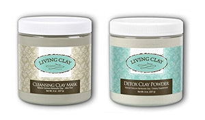 Living Clay Detox Clay Powder and Cleansing Clay Mask with Natural Calcium Bentonite, for drawing out Impurities and Excess Oils, Removing Make-up and more, 8 oz each