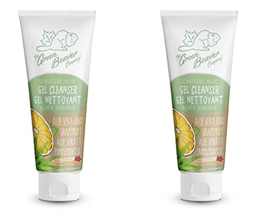 Green Beaver Sensitive Aloe Gel Cleanser (Pack of 2) with Organic Aloe Vera Juice, Linseed Extract, Grapefruit Peel Oil and Lemon Peel Oil, Ideal for Acne Prone Skin, 4 oz