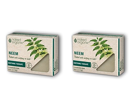 Naked Organix Neem Cleansing Bar (Pack of 2) with Certified Organic Olive Fruit Oil, Coconut Oil, Palm Oil, Shea Butter, Jojoba Seed Oil and Rosemary Leaf Extract, 4 oz