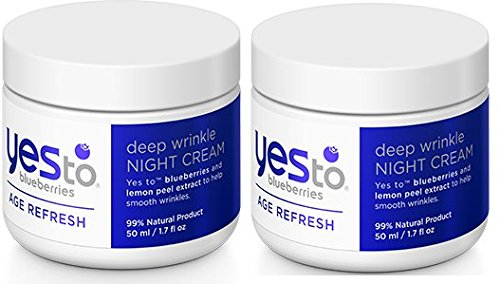 Yes to Blueberries Age Refresh Deep Wrinkle Night Cream (Pack of 2) with Shea Butter, Sunflower Seed Oil, Sugar Cane, Olive Oil and Sea Buckthorn, 1.7 fl. oz.
