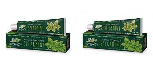 Green Beaver Spearmint Natural Toothpaste (Pack of 2) with Spearmint Leaf Oil, Lemon Extract and Xylitol, Flouride-free, Gluten-free, Cruelty-free, Vegan and Biodegradable, 2.5 oz