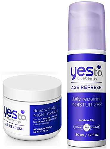 Yes to Blueberries Deep Wrinkle Night Cream and Daily Repairing Moisturizer Bundle with Vitamin E, Sugar Maple Extract, Soybean Oil and Shea Butter, 1.7 fl. oz. each