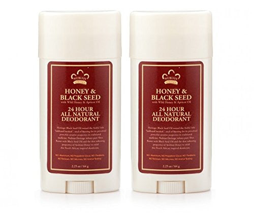 Nubian Heritage Honey & Black Seed 24 Hour All Natural Deodorant, 2.25 oz. (Pack of 2)