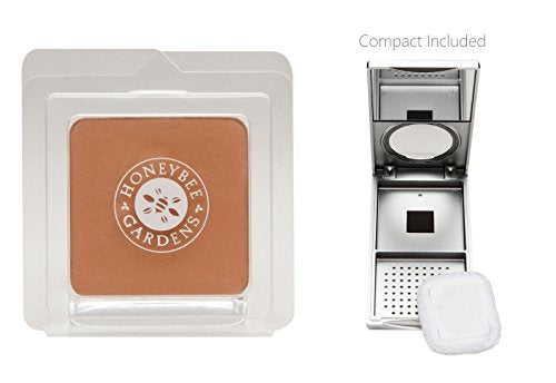 Honeybee Gardens Montego Pressed Mineral Powder Foundation (0.26 oz) with Silver Mirrored Compact and Flocked Cotton Puff, Vegan and Eco-Friendly