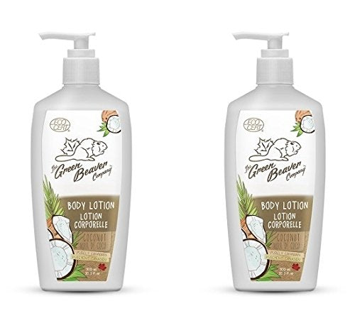 Green Beaver Coconut Body Lotion (Pack 2) with Organic Aloe Vera, Sunflower Seed Oil, Labrador Tea Water and Sweetfern Water, Gluten-free, Paraben-free, Cruelty-free and Vegan, 10.1 oz
