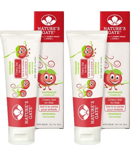 Nature's Gate Cherry Gel for Kids Fluoride Free Toothpaste, 5 oz. (Pack of 2)