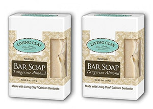 Living Clay Tangerine Almond Bar Soap (Pack of 2) with Natural Calcium Bentonite Clay, Sea Salt, Herbs, Olive Oil, Palm Oil, Coconut Oil and other Essential Oils, 4 oz