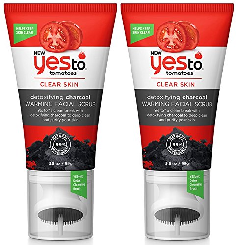Yes To Tomatoes Clear Skin Detoxifying Charcoal Warming Facial Scrub (Pack of 2) with Charcoal, Tomato Fruit Extract and Ginger Root, 3.5 fl. oz.