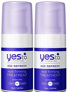 Yes to Blueberries Age Refresh Eye Firming Treatment (Pack of 2) with Soybean Oil, Birch Bark Extract, Beeswax, Coconut Oil and Shea Butter, 0.5 fl. oz.