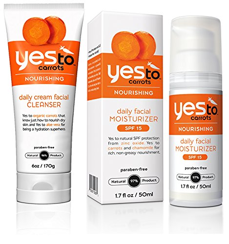 Yes to Carrots Daily Cream Facial Cleanser and Daily Facial Moisturizer with SPF 15 Bundle with Carrot Seed Oil, Pumpkin Fruit Extract, and Sweet Almond Oil, 6 oz. and 1.7 fl. oz.