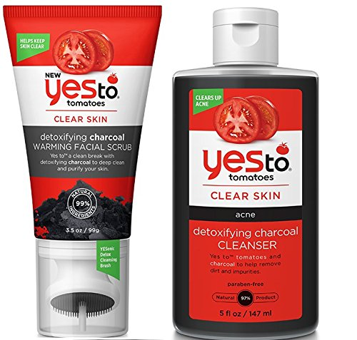Yes to Tomatoes Detoxifying Charcoal Warming Facial Scrub and Detoxifying Charcoal Cleanser Bundle with Watermelon Fruit Extract, Ginger Root and Pumpkin, 3.5 oz. and 5 fl. oz. each