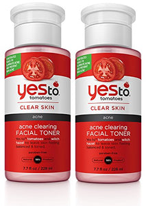 Yes to Tomatoes Acne Clearing Facial Toner (Pack of 2) with Witch Hazel, Aloe Leaf Juice, and Blackberry Fruit Extract, 7.7 fl. oz.
