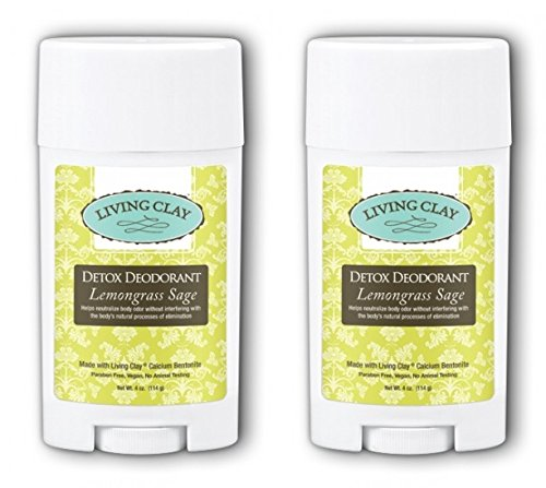 Living Clay Lemongrass Sage Detox Deodorant (Pack of 2) with Natural Calcium Bentonite Clay, Cocoa Butter, Coconut Oil, Arrowroot Powder, Candellia Wax, Calendula-infused Olive Oil and Sage Oil, 4 oz